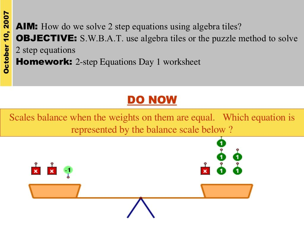 Solving Two Step Equations Using Algebra Tiles Equations