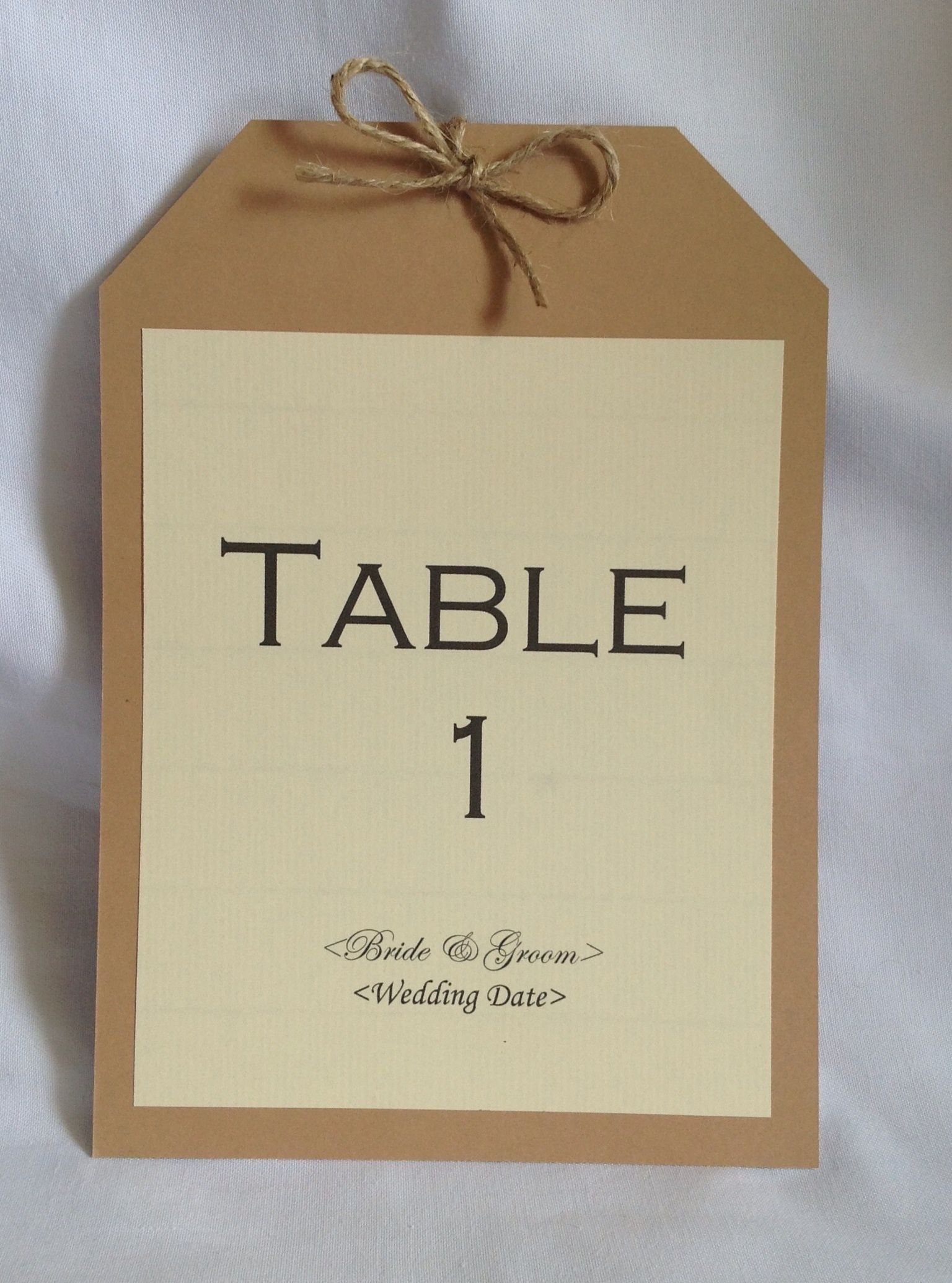 Rustic Vintage luggage tag table name card. Available in any colour ...