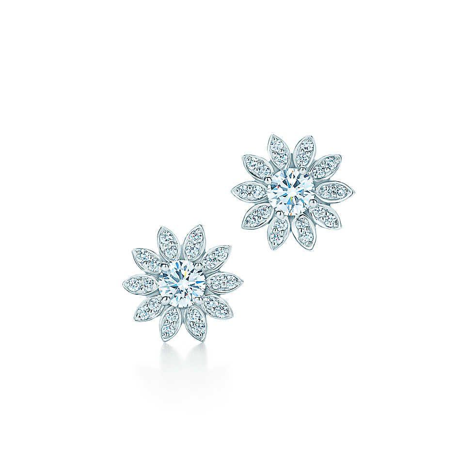 a26da93ab Tiffany Enchant® flower earrings in platinum with diamonds.   Tiffany & Co.  D15 4,300