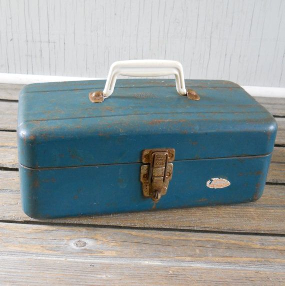 Vintage Tackle Box Union Steel Chest Teal by lisabretrostyle2 SOLD