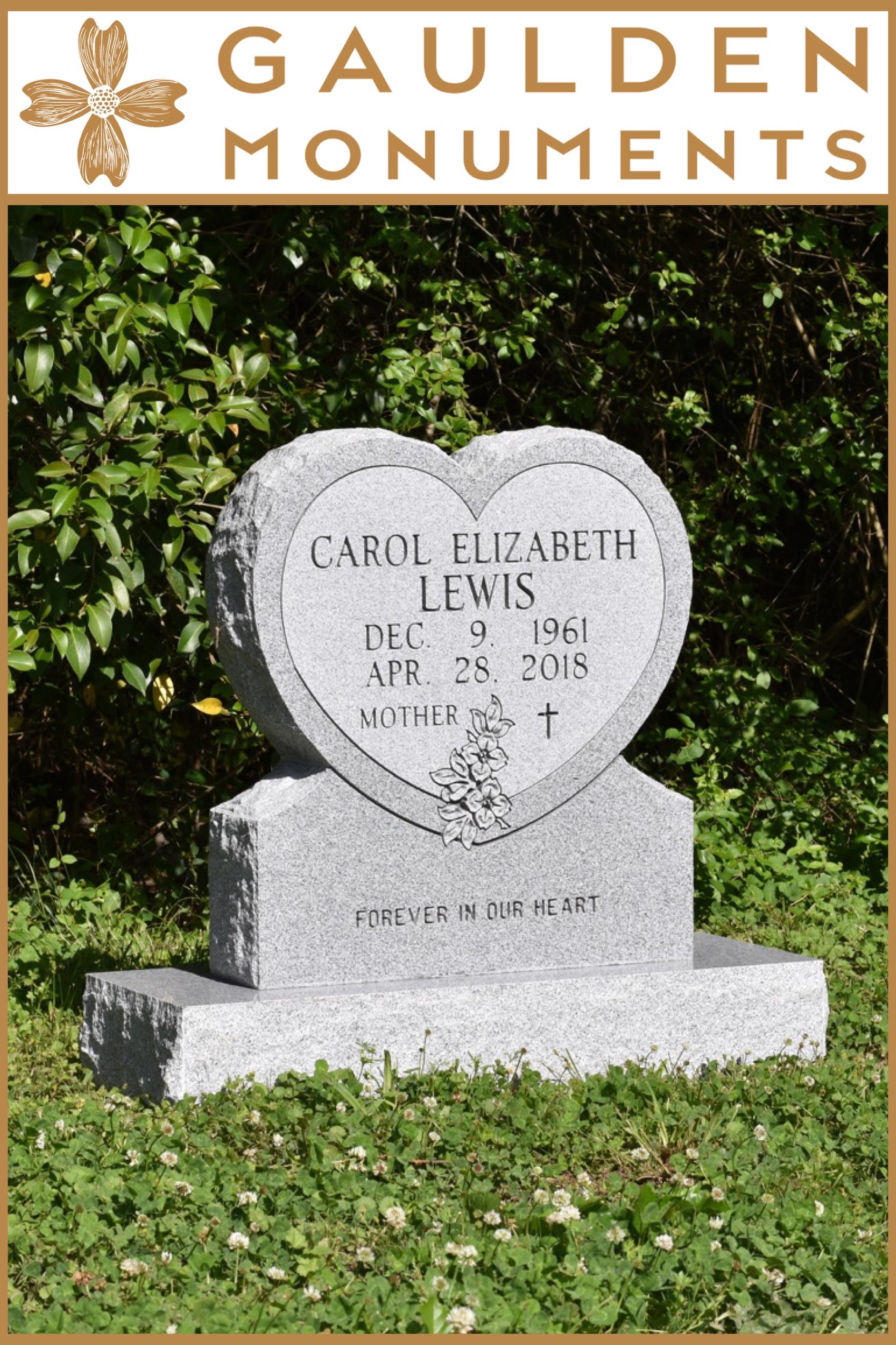 Large Heart Shape Single Upright Headstone Gaulden Monuments Headstones Monument Gravestone