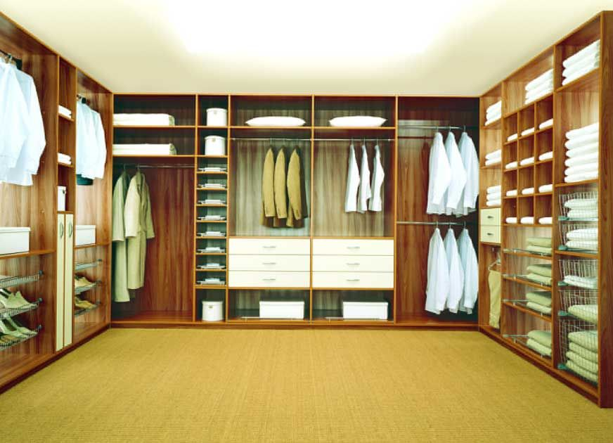 Modish Brown Wooden Finished Built In U Shaped Walk In Closet Design With  Open Cabinetry As Clotes Storage Also White Drawers Ideas