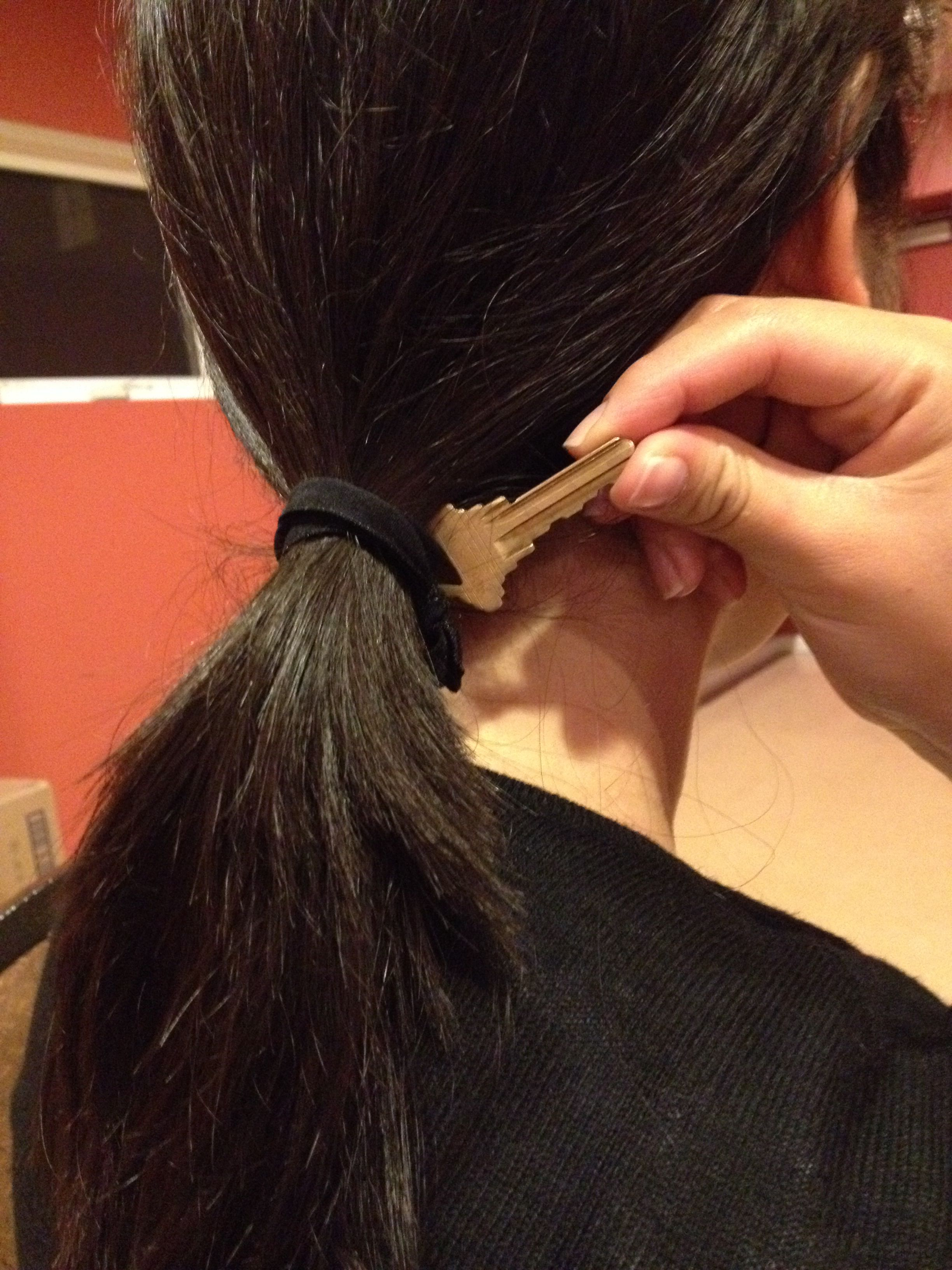 Can't afford to loose your room key? Put it on your hair tie.