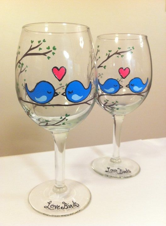 love birds hand painted wine glasses via. Black Bedroom Furniture Sets. Home Design Ideas