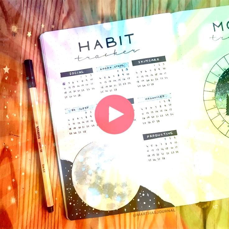 Martha  on Instagram Habit tracker for February and a tiny sneak peek of my mood tracker   Also I messed up a drawing and tried to cover it with this moon Martha  on Inst...