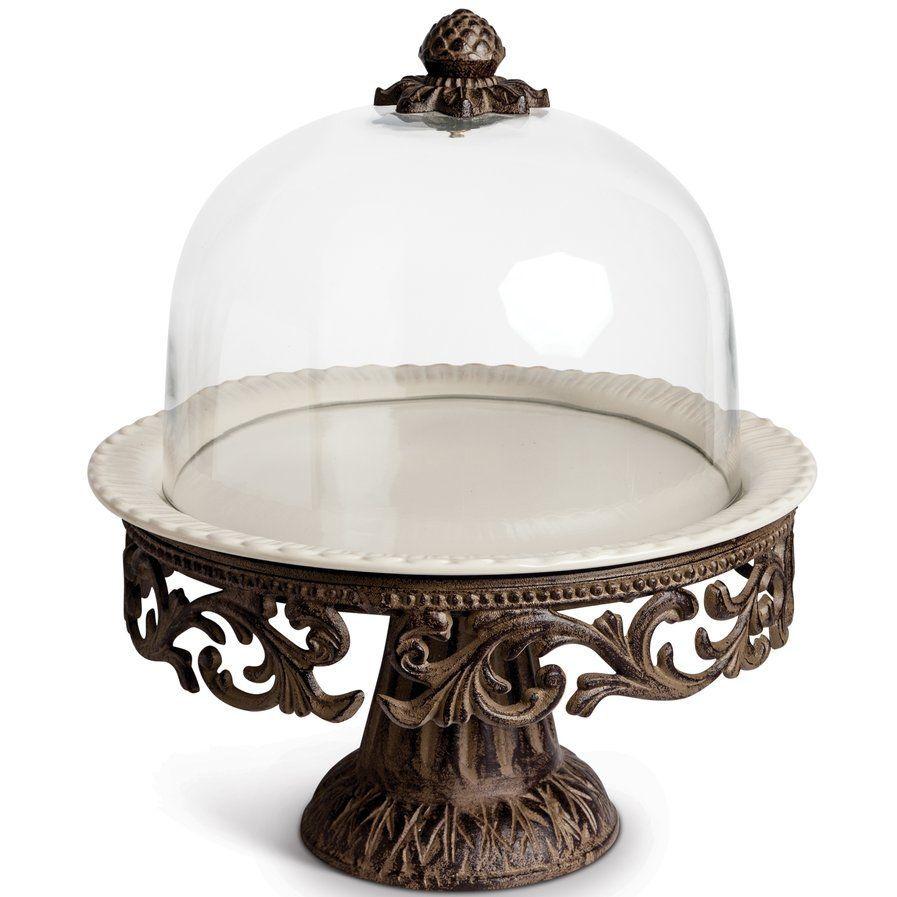 Cake pedestal with glass dome cake stand with images