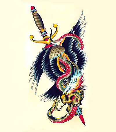 Eagle And Snake And Dagger Tattoo Design Sword Tattoo