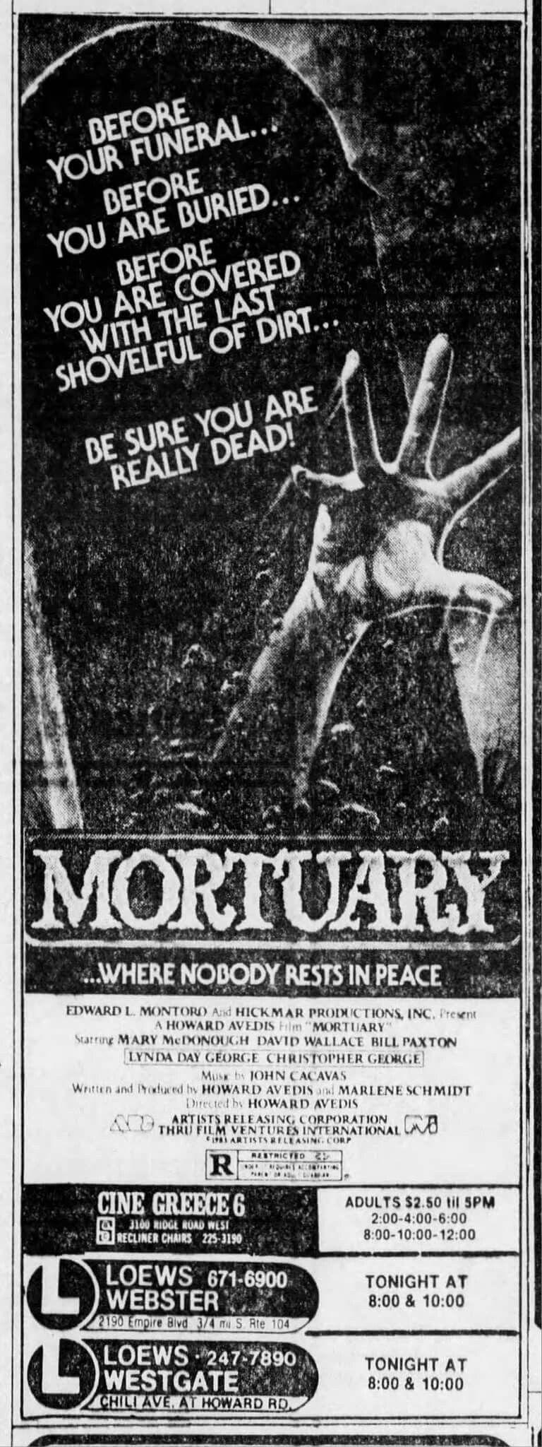 Mortuary (1983) | Classic Movies | Classic horror movies