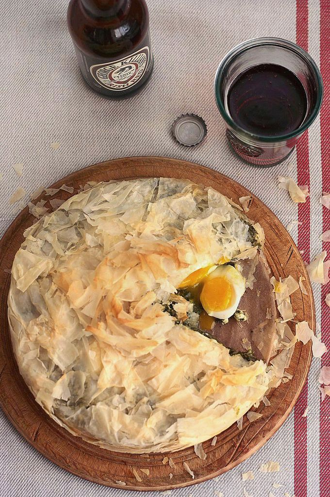 Savory Phyllo Pie with Winter Greens and Eggs