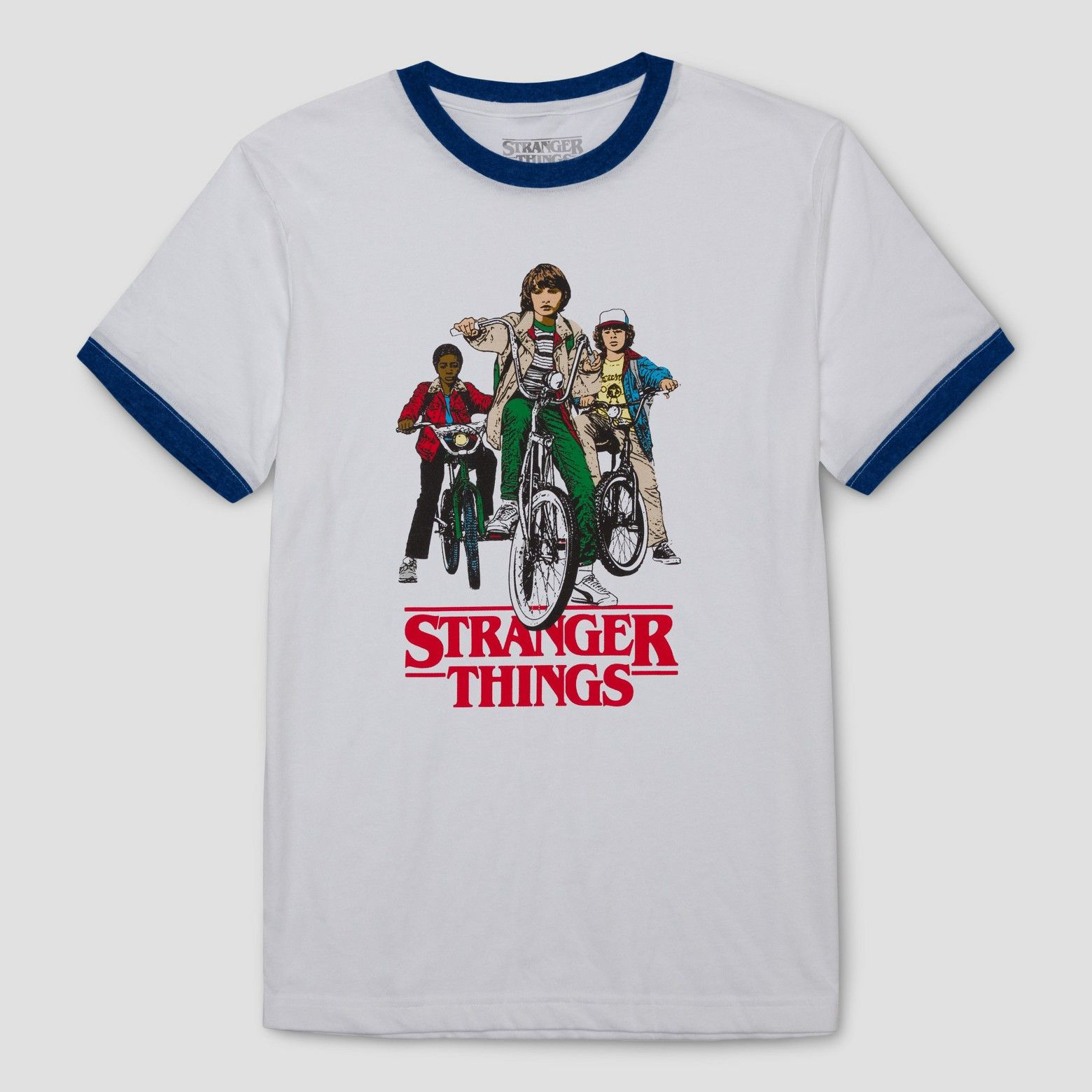 Men's Stranger Things Group Shot Ringer Graphic T-Shirt