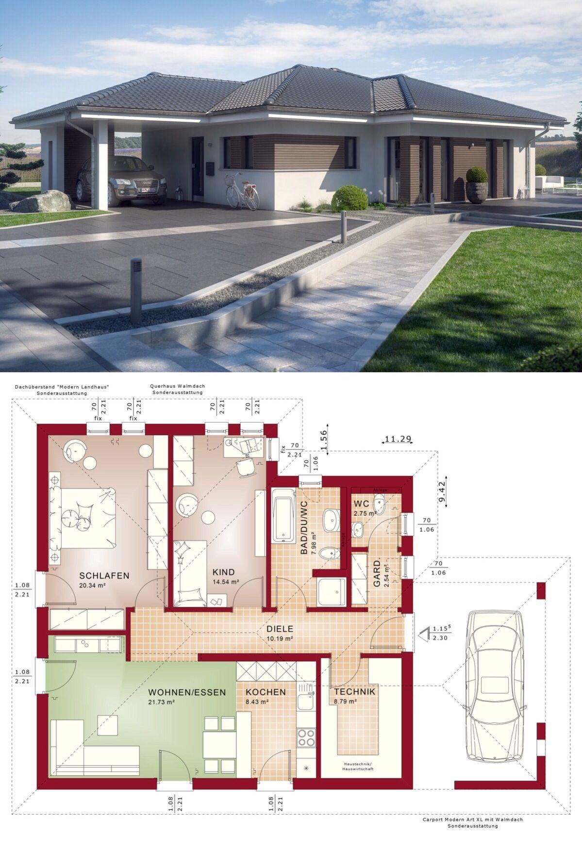Bungalow Haus Grundriss Ebenerdig Mit Walmdach Architektur Carport Integriert 3 Zimmer 96 Qm Kuche Offen Fertighau Fertighaus Bungalow Haus Bauplan Haus