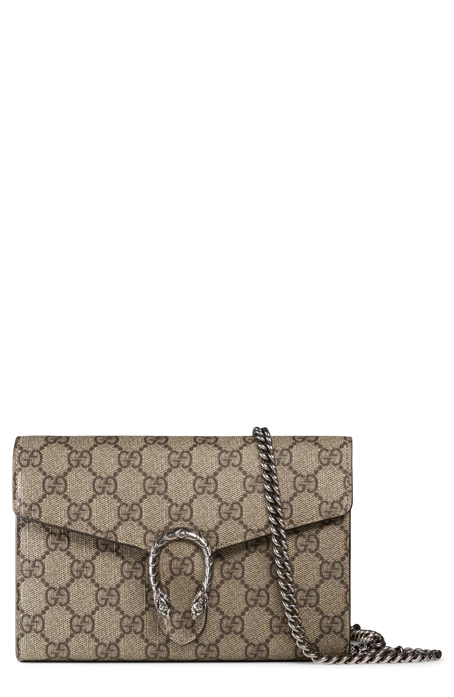 652132a73 Dionysus GG Supreme Canvas Wallet on a Chain, Main, color, BEIGE EBONY/TAUPE