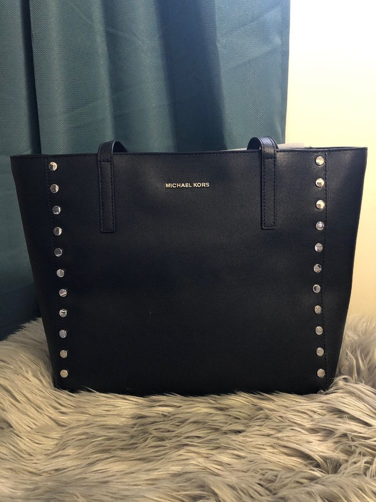 27931cca2663 NWT Michael Kors Rivington Stud Large Black Tote #fashion #clothing #shoes  #accessories #womensbagshandbags  #seemoremichaelkorsblacksaffianoleatherjetsettr ...