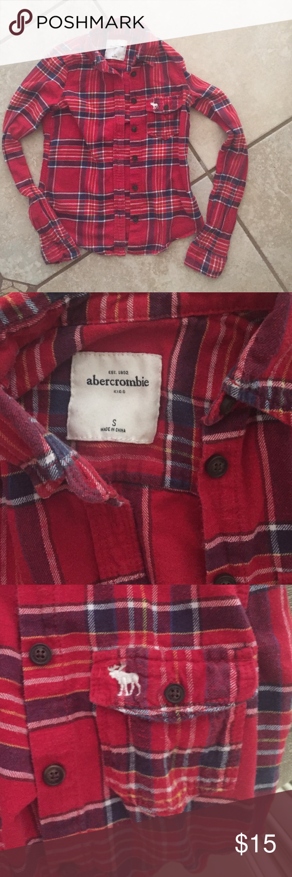 Red flannel shirts  Abercrombie kids flannel shirt  Abercrombie kids Abercrombie girls