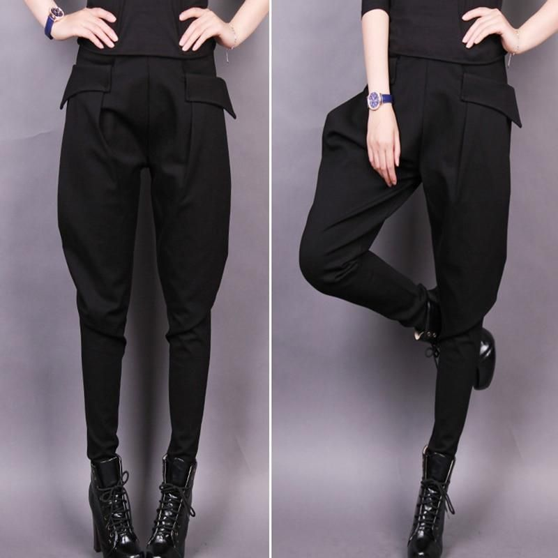 021945ec2184e Autumn winter women s casual velvet pants women cross-pants 2018 plus size  black elastic loose harem pant large size pants S-4XL