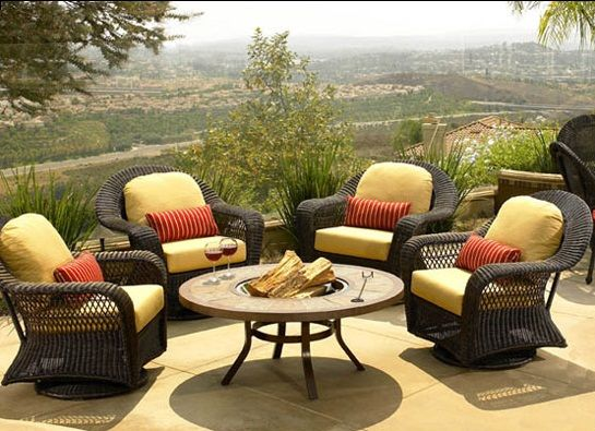 Rattan Outdoor Yellow Patio Furniture Cushions With Small Round Table And  Fire Pit