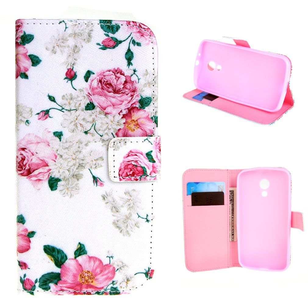 quality design e14f4 bb369 Amazon.com: For Moto G (2nd generation) , Leathlux Flower Pattern ...