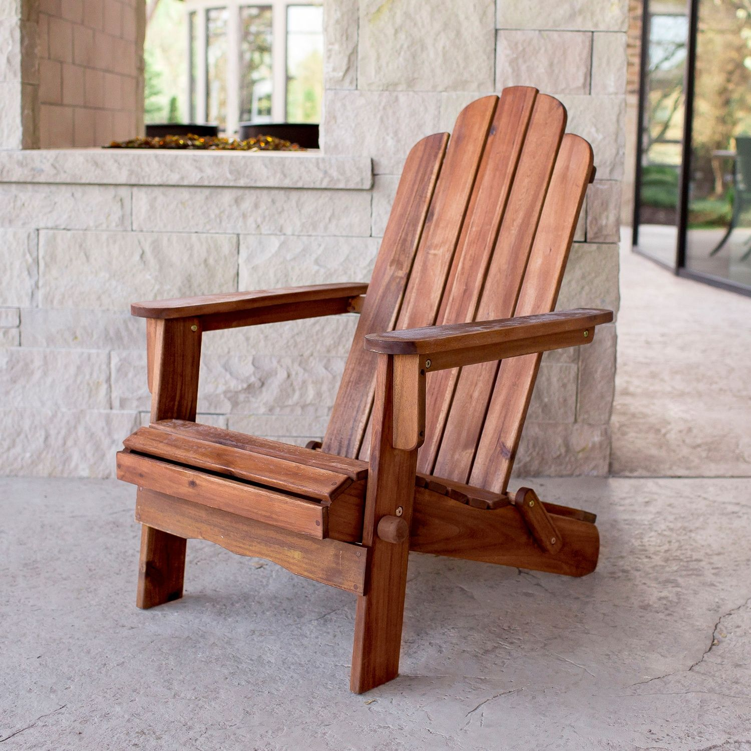 Acacia Brown Adirondack Chair Outdoor Chairs Wood Adirondack
