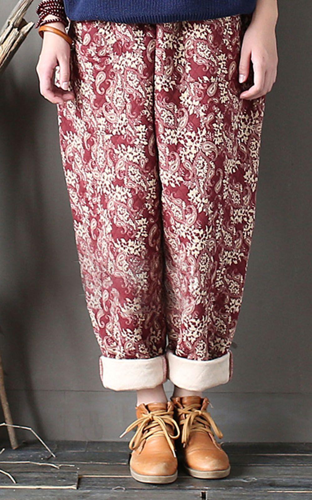 f5f22652d4d7c Women Floral Vintage Quilted Harem Pants