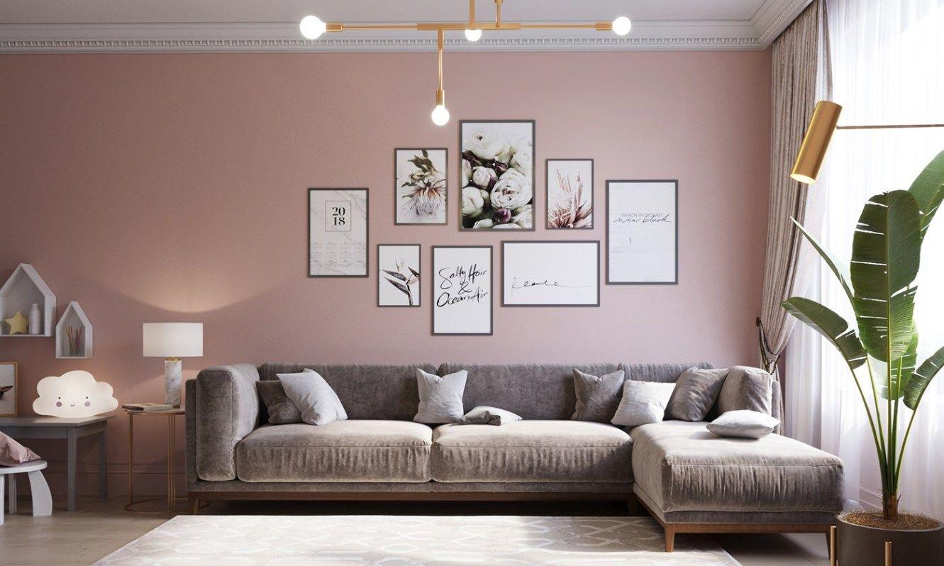 Deco Salon Gris Rose décoration douce en gris et rose | salon rose poudré | salon