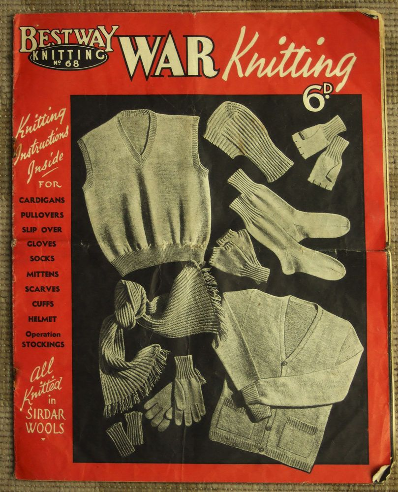 ORIGINAL VINTAGE 1940s BESTWAY WARTIME WW2 KNITTING PATTERN BOOKLET ...