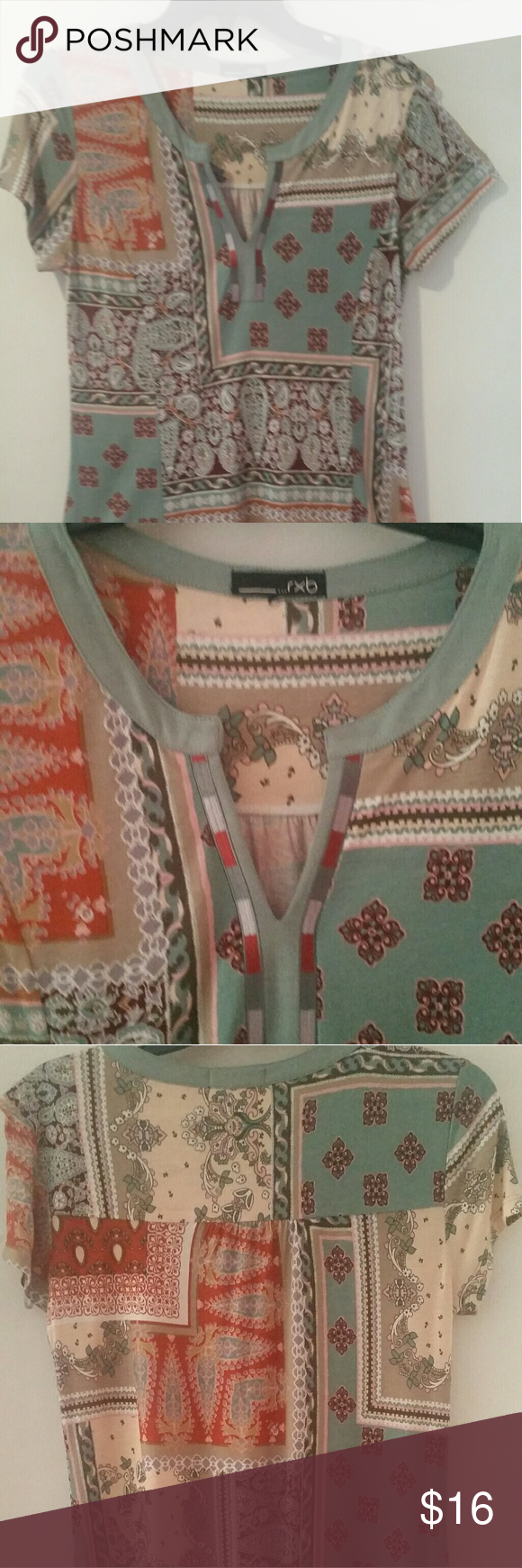 High Low Symmetrical Tunic Pretty soft muted colors of pale blues,pinks, oranges browns & tan. Super soft fabric with piped neck line and short sleeves. Very nice with leggings or skinny jeans. NWOT . Never worn. rxb Tops Tunics
