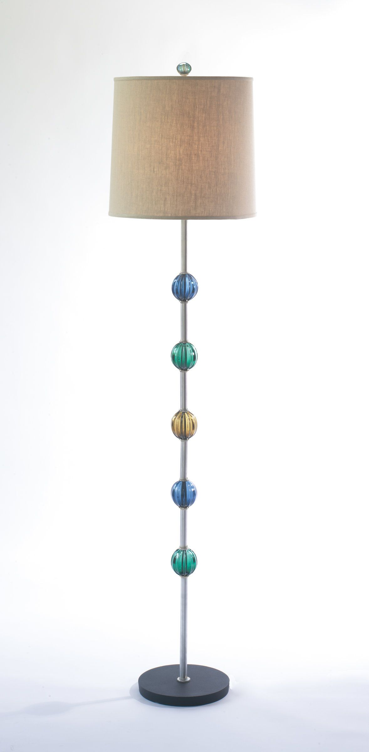 Globe Floor Lamp By Tracy Glover Five Blown Glass Baubles Adorn A Metallic Stem With Tranquil Colors The Wheat Hued Lin Lamp Globe Floor Lamp Teal Floor Lamp