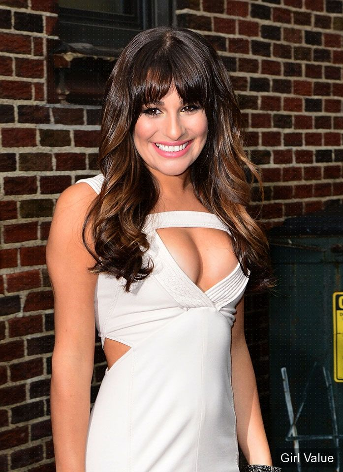 beautiful lea michele in tight white dress