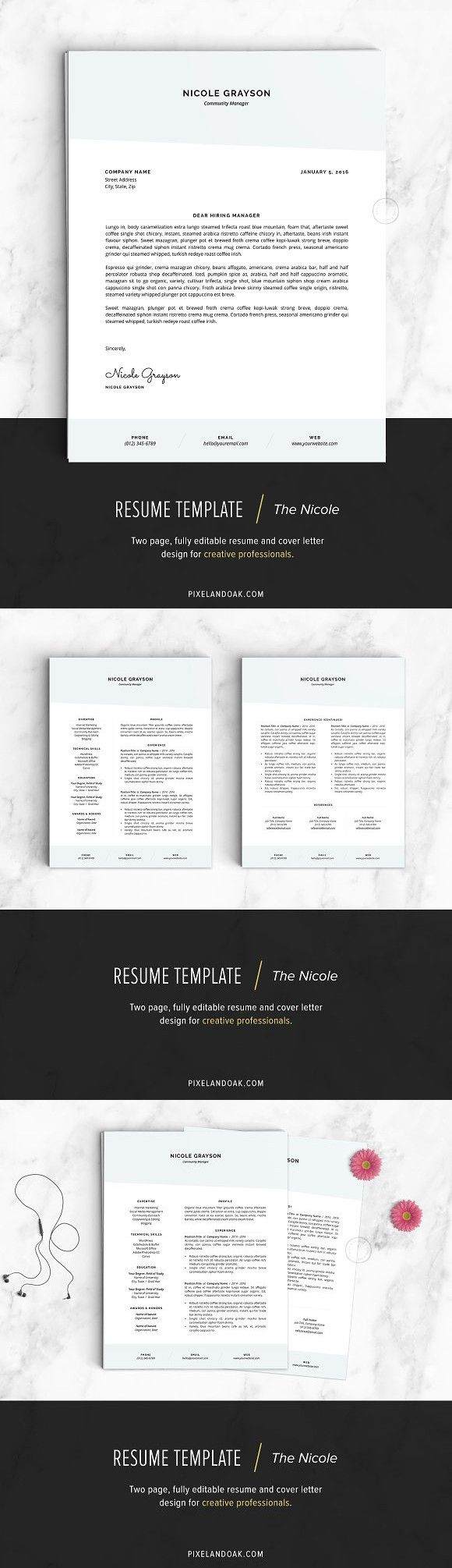 Resume Template | The Nicole #resume #coverletter | Resume ...