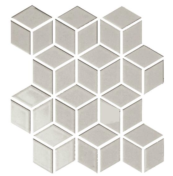 Sognare Cute Fawn Rhombus Hexagon Cube White Glossy Mosaic 12x12 In 2020 Border Tiles Porcelain Mosaic Emser Tile