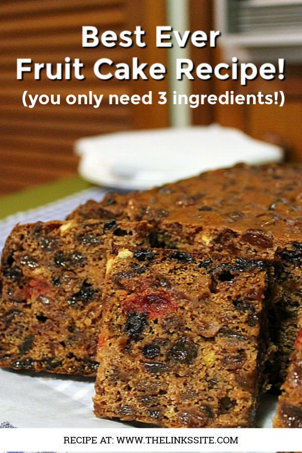 This is the best fruit cake recipe that I have ever found! It would be great for a last minute Christmas cake! It only requires 3 ingredients and it tastes delicious! thelinkssite.com #cake #easyrecipe #fruitcake #bestrecipe