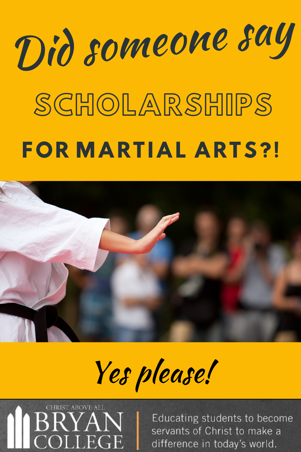 Scholarshipped To Be A Peacemaker Check Out Bryan College S Martial Arts Academy Scholarships Martial Arts Bryan College