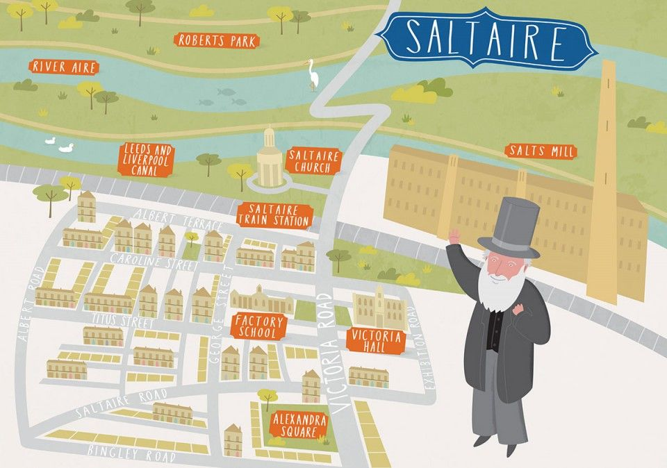 Illustrated map of Saltaire West Yorkshire Maps Pinterest