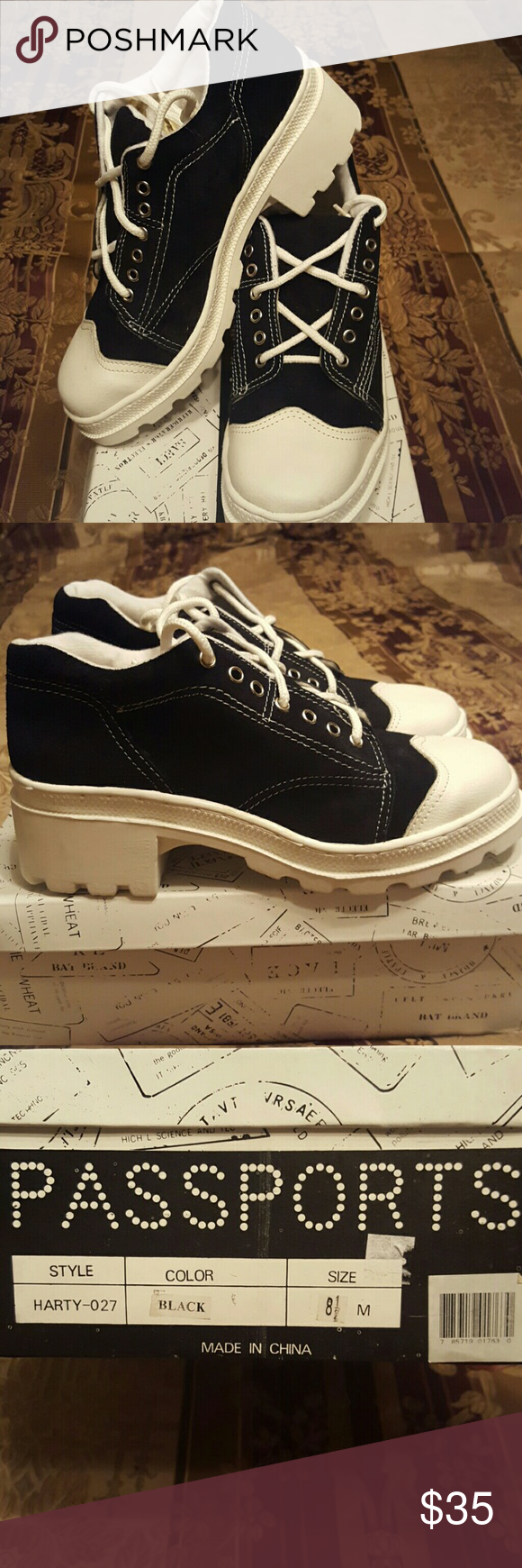 Black/White Platform Type Tennis Shoes Super cute and trendy heeled tennis shoes. Never worn!! Passports Shoes Platforms