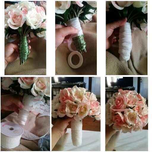 Diy Fake Flower Bouquet You Can Add Pearls Or Sparkly Stones In The Flo Diy Wedding Bouquet Fake Flowers Wedding Bouquet Fake Flowers Diy Bouquet Fake Flowers