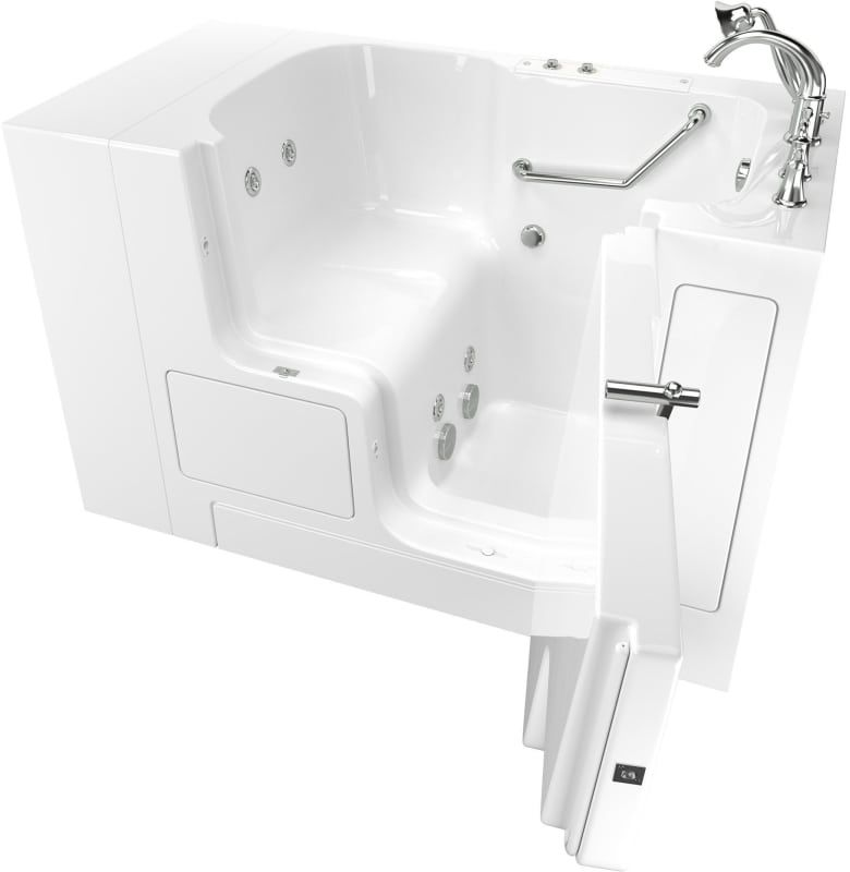 American Standard 3252od 709 Wr Value 52 Walk In Whirlpool Bathtub With Right H White Polished Chrome Walk In Tub Whirlpool Alcove Walk In Tubs Walk In Bathtub Whirlpool Bathtub