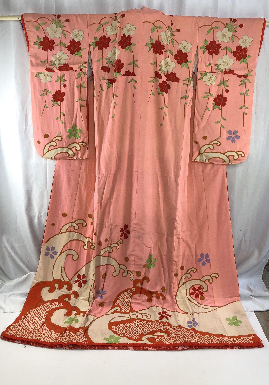 Vintage Kimono Japanese Stage Kimono Furisode 28677 Etsy Kimono Design Vintage Kimono Japanese Fashion