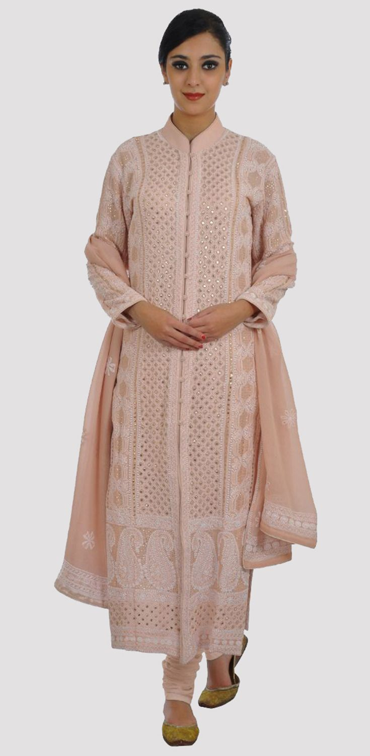 fbf4767300 Nude Peach Intricate Chikankari and Kamdani Jacket Suit With Dupatta ...