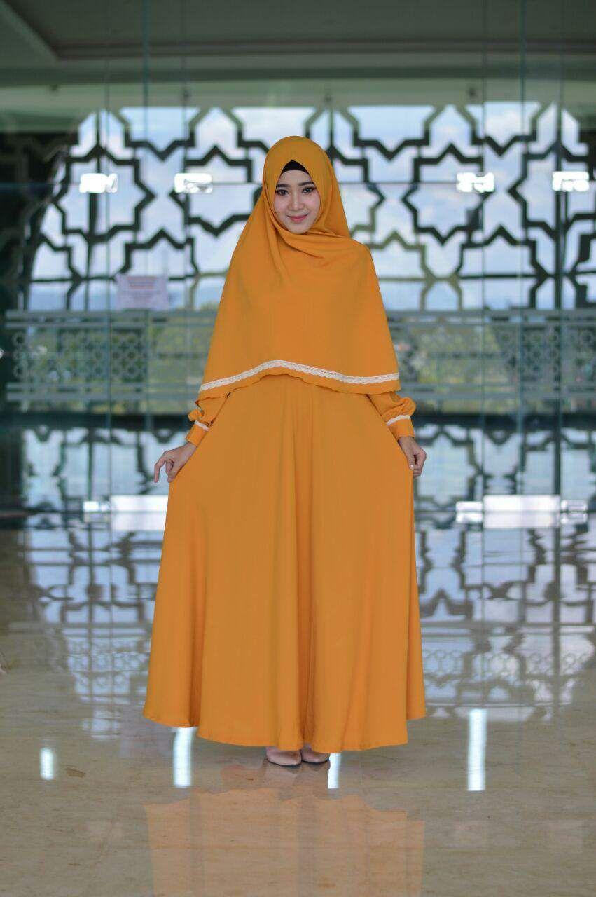 Adzkia Gamis Justmine Kuning Kunyit Dibuat Dari Bahan Sharon