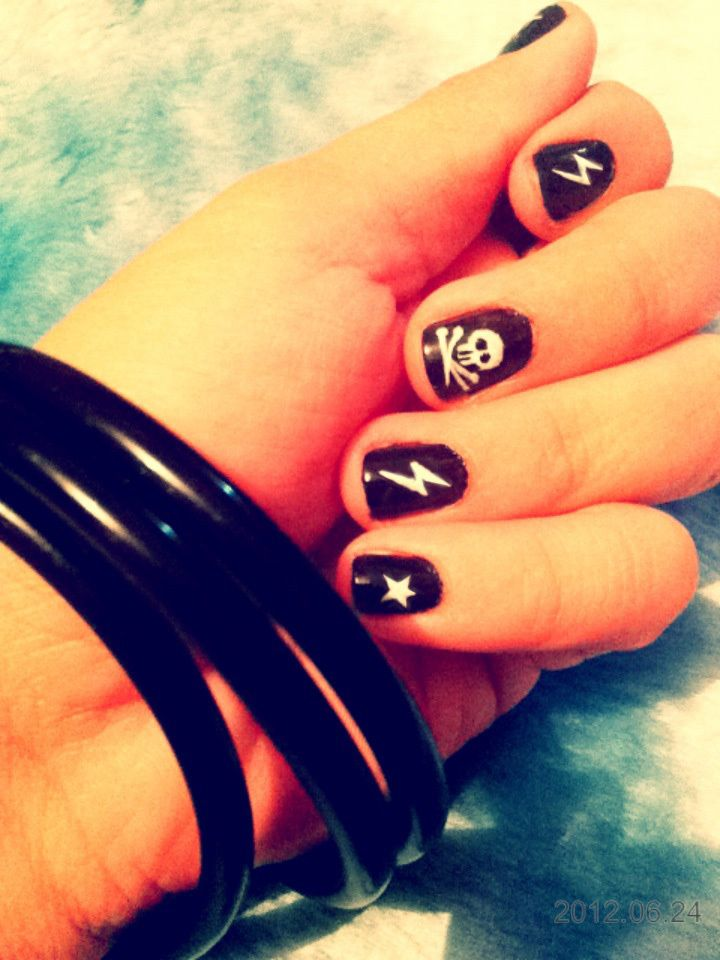 Rocker Nails  •  Free tutorial with pictures on how to paint a themed nail manicure in under 60 minutes