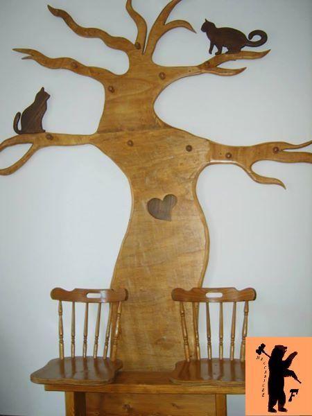 Appendiabiti a forma di albero con panchetta d\'attesa a due ...