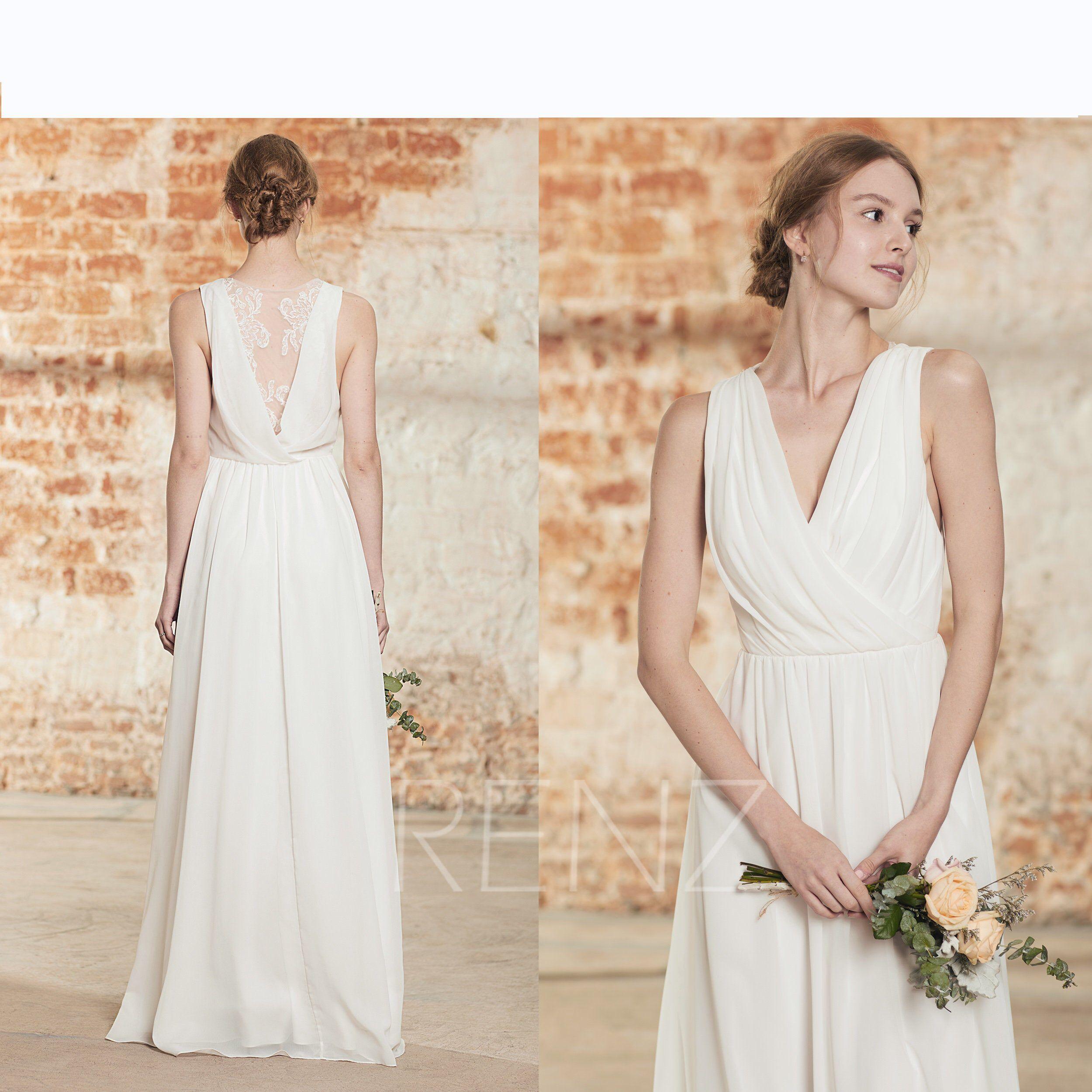 Simple Wedding Dress V Neck Long Chiffon White Bridesmaid