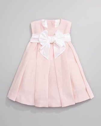 Helena Linen Pleated Dress Light Pink Baju Anak Gaun Gadis Kecil Baju Balita
