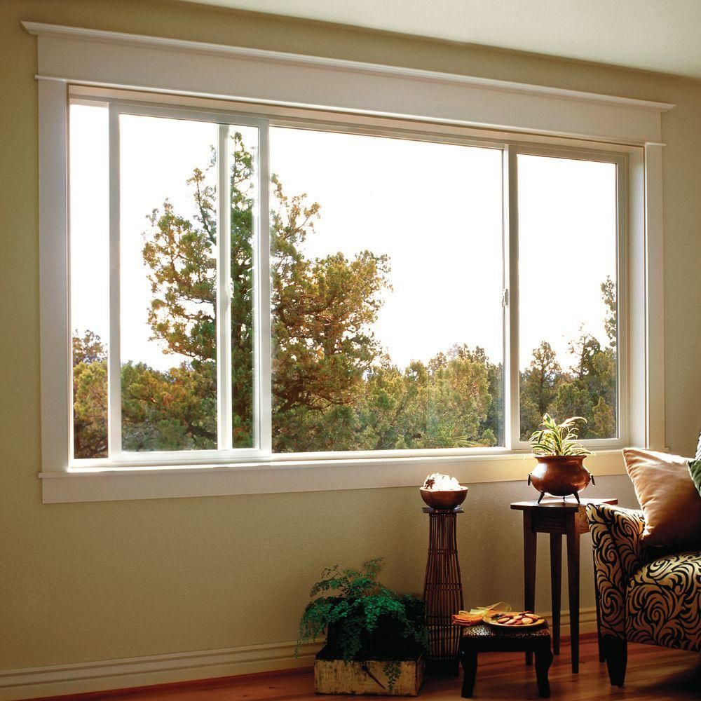 Jeld Wen 95 5 In X 47 5 In V 2500 Xox Sliding Vinyl Window White Sierra 2vsld 8040 The Living Room Windows Bay Window Living Room Discount Interior Doors
