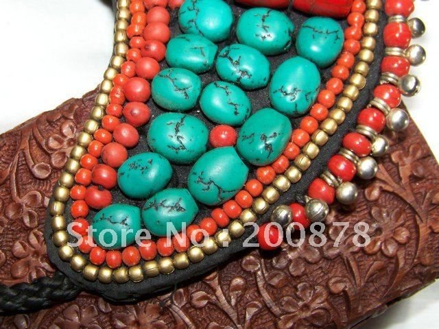 TNL443  Tibetan T-fashion big statement pendant Necklace,Nepal colorful stone beaded sewed Pendants