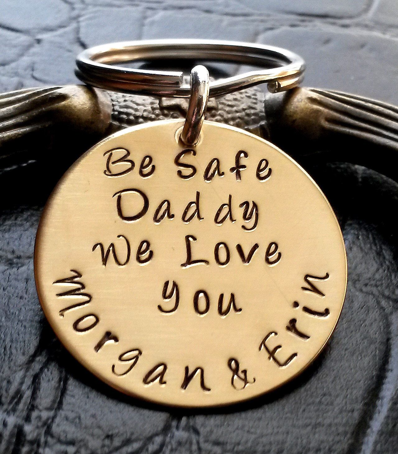 9d12223c417b4 Be Safe Daddy Key Chain -Fathers Day Gifts-Thin Blue Line-firefighter gift