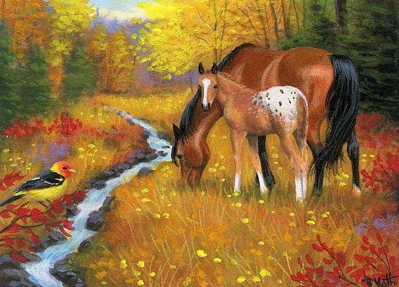 Mare foal horse appaloosa western tanager bird fall original aceo painting art #Realism Bridget Voth (Artist). Ebay ID star-filled-sky