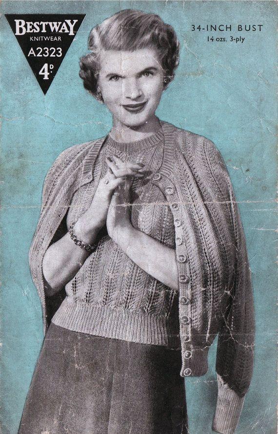 Vintage 1930s Knitting Pattern Twinset By Kitandcaboodlecrafts