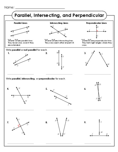 Parallel, Intersecting, and Perpendicular Lines | Free printable ...