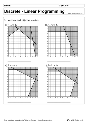 Linear Programming Practice Questions Solutions Teaching Resources Linear Programming This Or That Questions Decision Maths